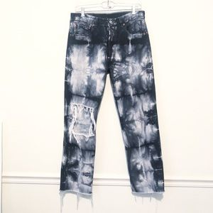 LEVI'S 501 Destroyed Knee Button Fly TieDye  Jeans